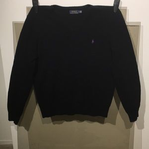 Polo Long Sleeve Wool Sweater V-Neck Size Large
